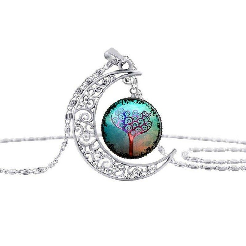 Neue Mode Vintage Baum des Lebens Halsketten Mond Edelstein Frauen Anhänger Halsketten Hohl Geschnitzte 8 Mix Schmuck Stile