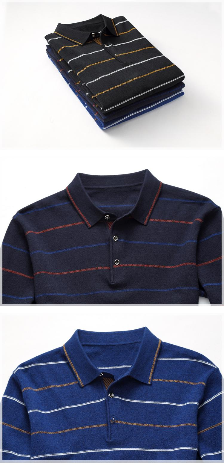 Autumn New Brand Men's Sweaters Fashion Striped Turn Down Collar Knitted Sweater Men High Quality Casual Pullovers Men 8XL YH-018