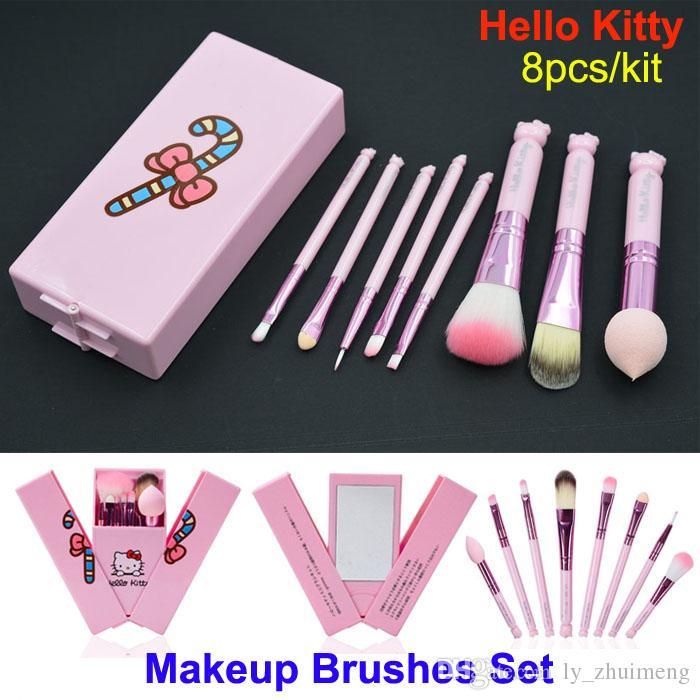 939f6c751de2 Mais novo rosa hello kitty pincéis de maquiagem set 8 pcs cosméticos  profissionais mini compo escovas kit crianças maquiagem escovas com caixa de  espelho