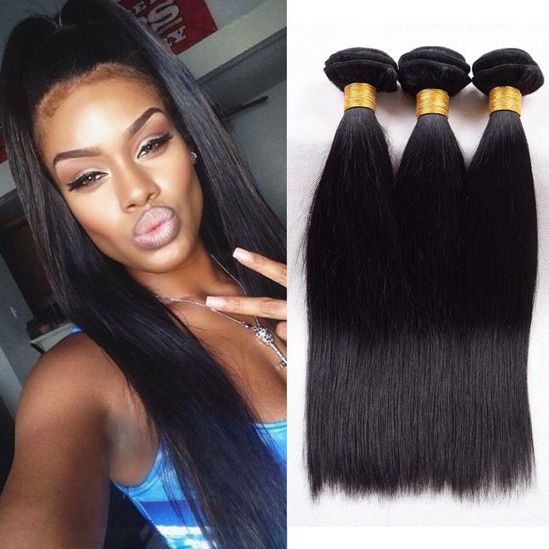 Hight Quality 7a Malaysian Brazilian Human Hair Straight Hair Weave