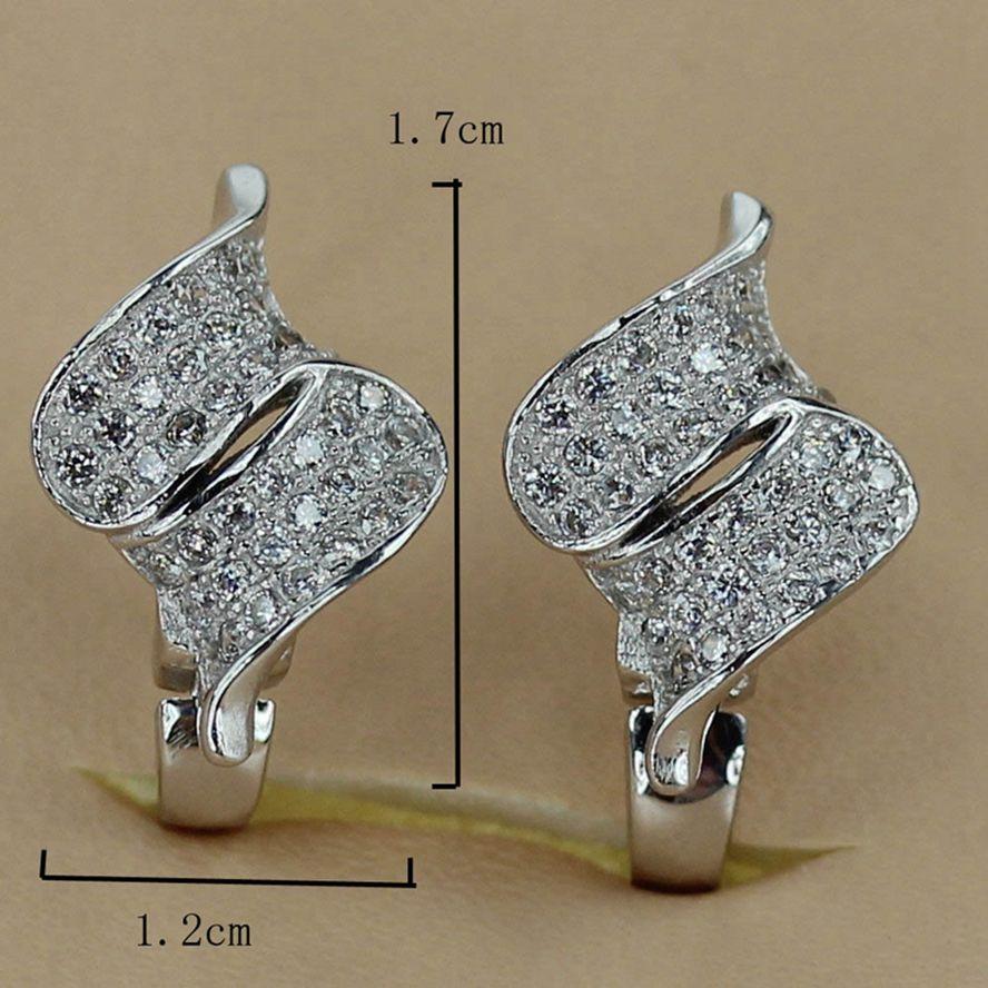 Kupfer rhodiniert Niedliches Herz Set Ring / Ohrring / Anhänger Weißes Zirkonia Edles Großzügiges MNsz # 6 7 8 9 Empfehlen Neues Muster