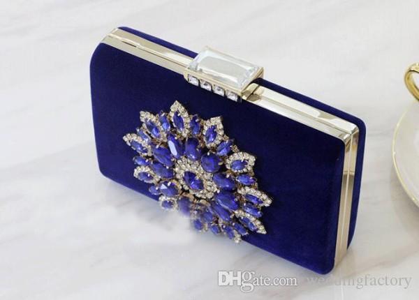 2016 Senhora Azul Royal Sacos De Noite Vestido de Festa Bolsas Sparkly Crystas Frisado Bolsas de Ombro Embreagem Bolsa De Casamento De Noiva Incrível Mini