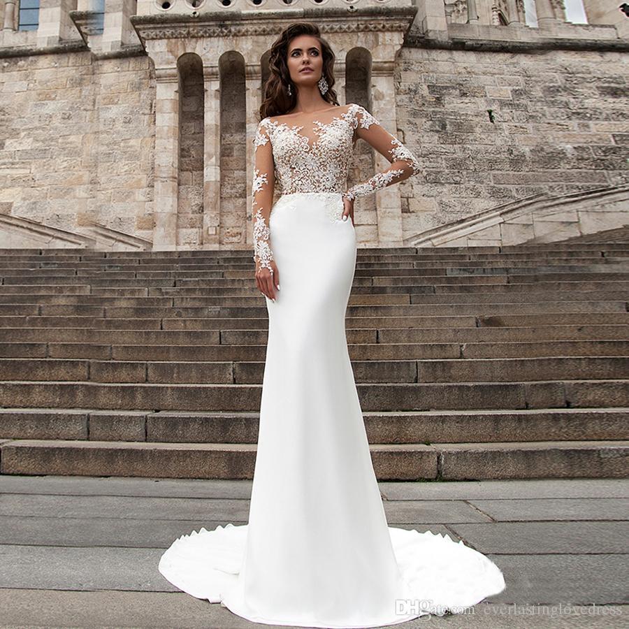 Sheer Lace Applique Long Sleeve Wedding Dress V Neck: Sheer Long Sleeves And V Neck Applique Lace Mermaid