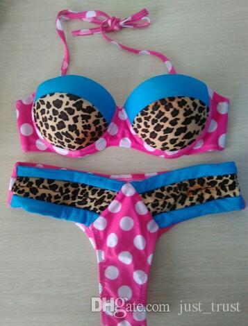 Hot Sexy summer Leopard patchwork Bikini sets low waist push up halter women swimwear Dots T Back thongs beachwear