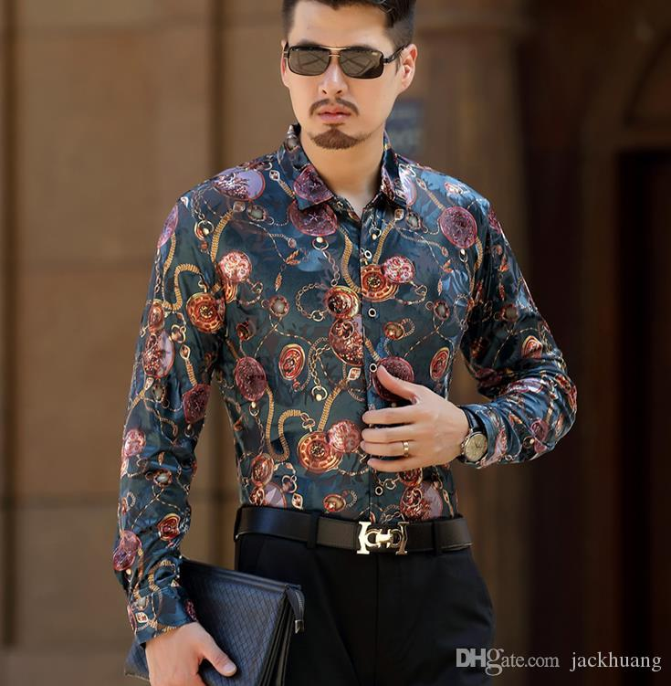 336ed52e Top Fashion Trendy Luxury Mens Silk Shirts Male Casual Velvet Formal Long  Sleeve Dress Shirt Slim Fit Floral Shirt For Man Canada 2019 From  Jackhuang, ...