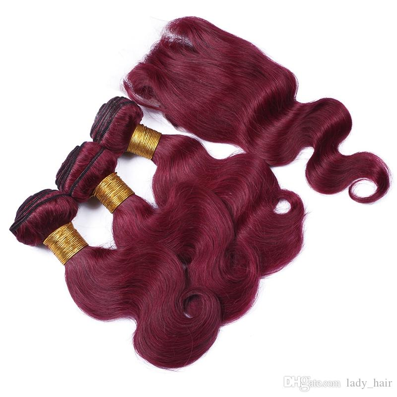 #99J Wine Red Brazilian Human Hair Weaves With Closure Virgin Brazilian Burgundy Hair 3Bundles With 4x4 Lace Closure Body Wave