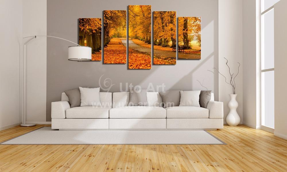 Discount Modern Modular Paintings On Canvas 5 Panel Wall Art Painting Of Yellow Tree Avenue Digital Painting Custom Canvas Prints Home From China | Dhgate. & Discount Modern Modular Paintings On Canvas 5 Panel Wall Art ...