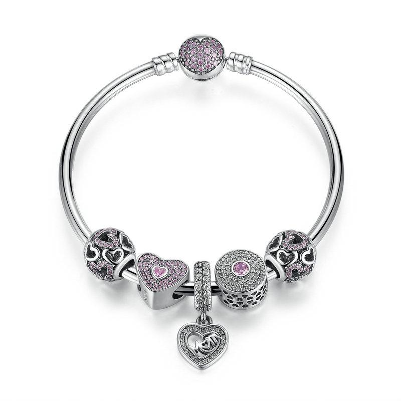 Genuine 925 Sterling Silver Beaded Bangle Charm Bracelets with Cut-out Hearts Silver Charms & Mom Dangles Mother's Gift BL225