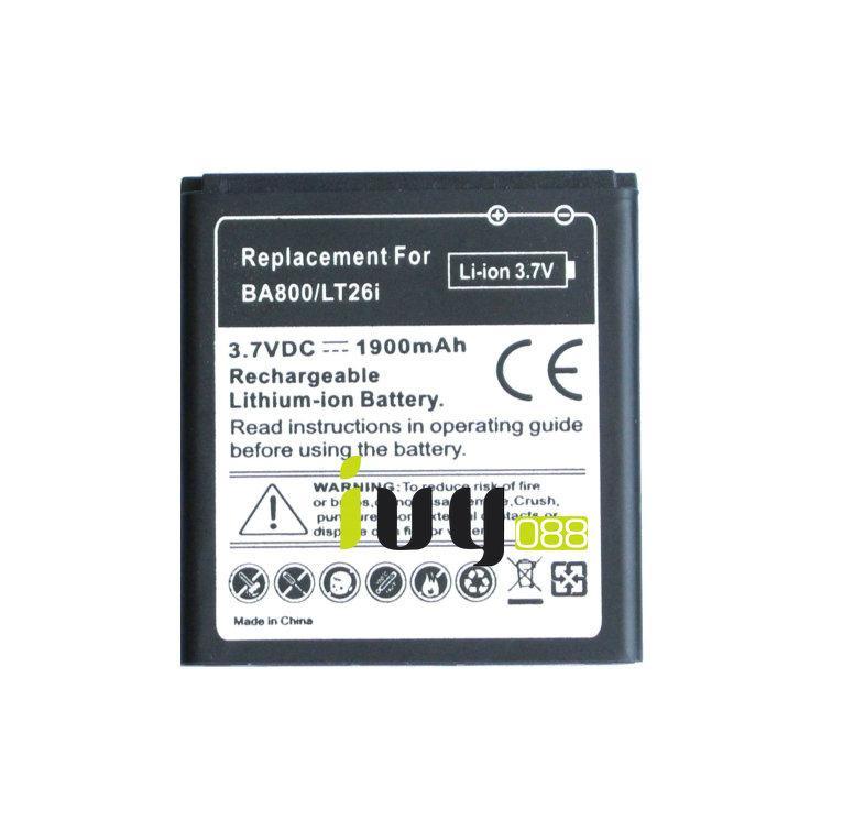 1900mAh BA800 Ersatzbatterie für Sony Xperia S Nozomi ARC HD LT26i LT26 LT25i LT25C AB-0400 Batterien Batteria Batterij
