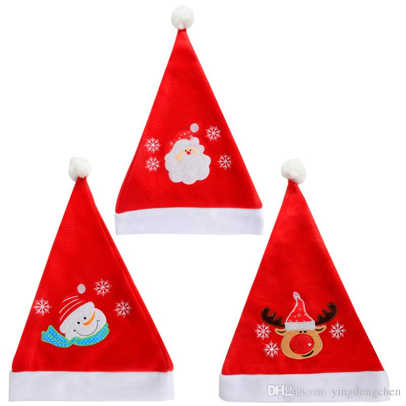 Christmas Hat Party Part - 31: Christmas Santa Hat In Modern 3 Types Of Embroidery Elk,Santa,Snowman In  Soft 100% Fabric Material For Christmas,Party,Etc. Diy Party Hats For  Adults Diy ...