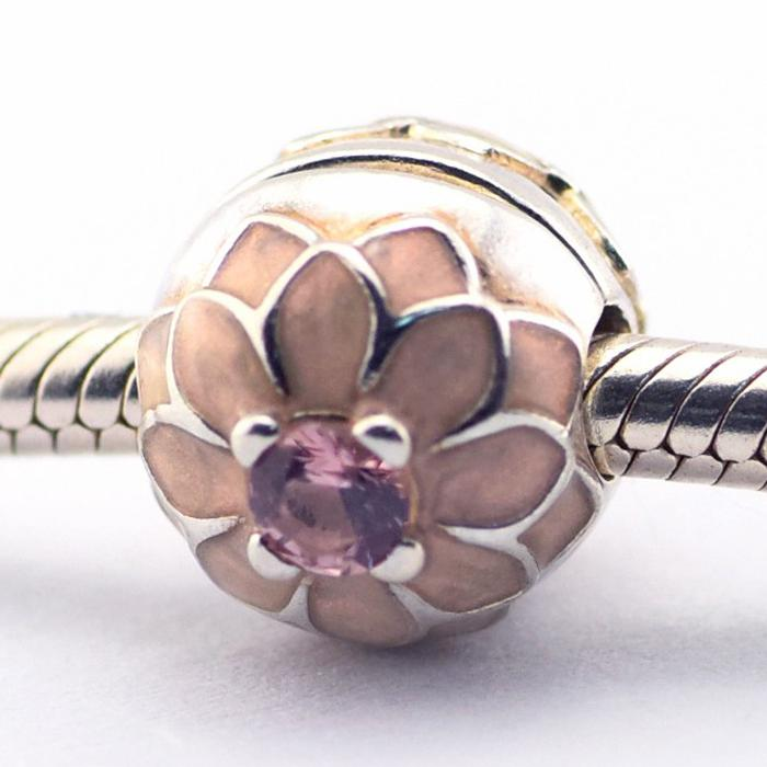 e5ebe81a8 Blooming Dahlia Clip Cream Enamel & Blush Pink Crystal 100% 925 Sterling  Silver Beads Fit Pandora Charms Bracelet Authentic Fashion Jewelry