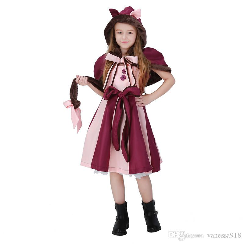 757fb7e215a9 Cheshire Cat Cosplay Fancy Lolita Dress Hot Alice in Wonderland Costume for Girls  Party Child Performance Alice Clothes Purple PS049 Dress Girls Halloween ...