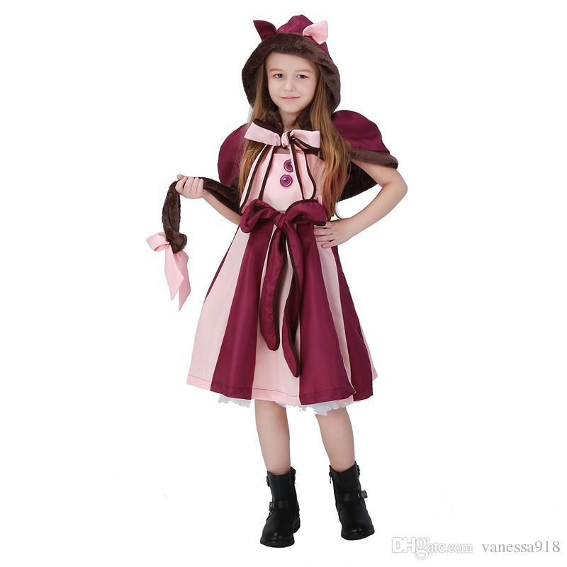 99df4380b5e75d Cheshire gato Cosplay Fantasia Lolita Vestido Hot Alice no País Das  Maravilhas Traje para o Partido Das Meninas Desempenho Criança Alice Roupas  ...
