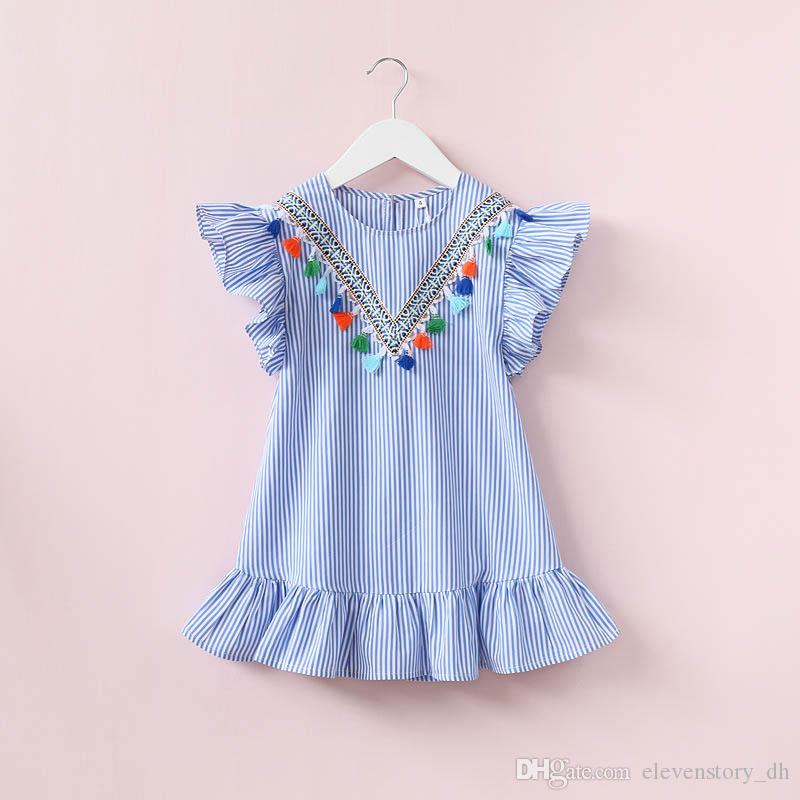 9119a6223 2 to 8 Years Girls Stripe Kids Baby Girls Summer Dresses, Infant Outfits  Tassels Bohemia Party Tutu Clothing, R1BC506DS-58, ElevenStory_dh Summer Kids  Baby ...