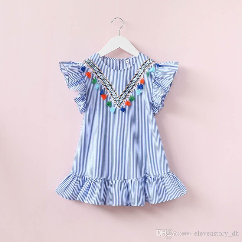 8fbeaf382 De 2 a 8 años Vestidos de verano para niñas, bebés, niñas, trajes de bebé,  borlas, trajes de fiesta de Bohemia, tutú, R1BC506DS-58, ...