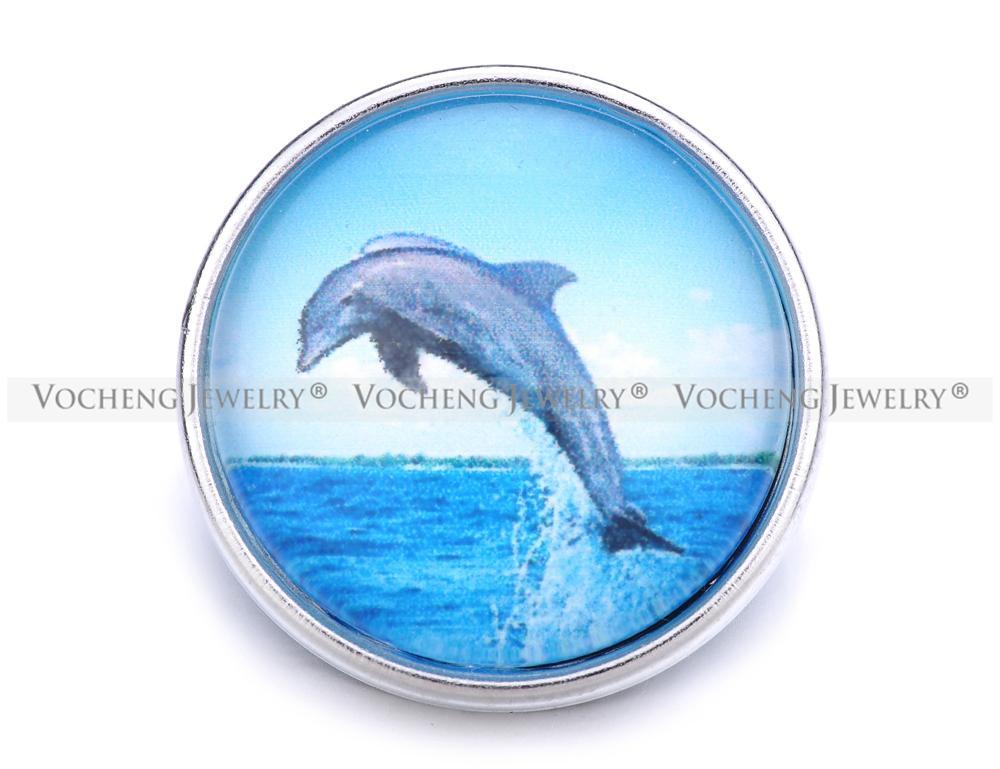 VOCHENG NOOSA Atacado Intercambiáveis 18mm Dolphin Glass Snap Charme Jóias Vn-1250