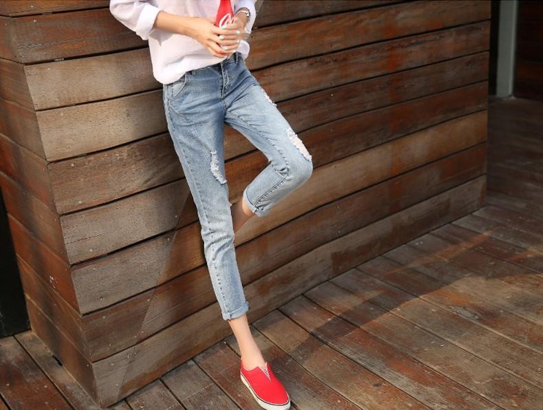 2016 осень мода издание, эластичная обработка, отверстия в джинсах, модные женские брюки ноги девять брюки Haren брюки.