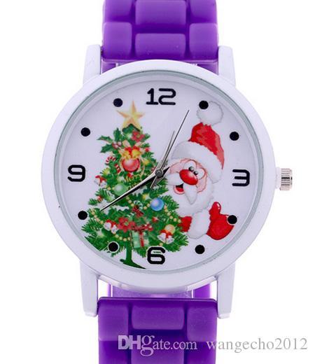 новые дешевые завод Оптовая мультфильм силиконовый резиновый ремешок Санта-Клаус рождественские часы для мальчиков девочек Новый год подарок бесплатная доставка
