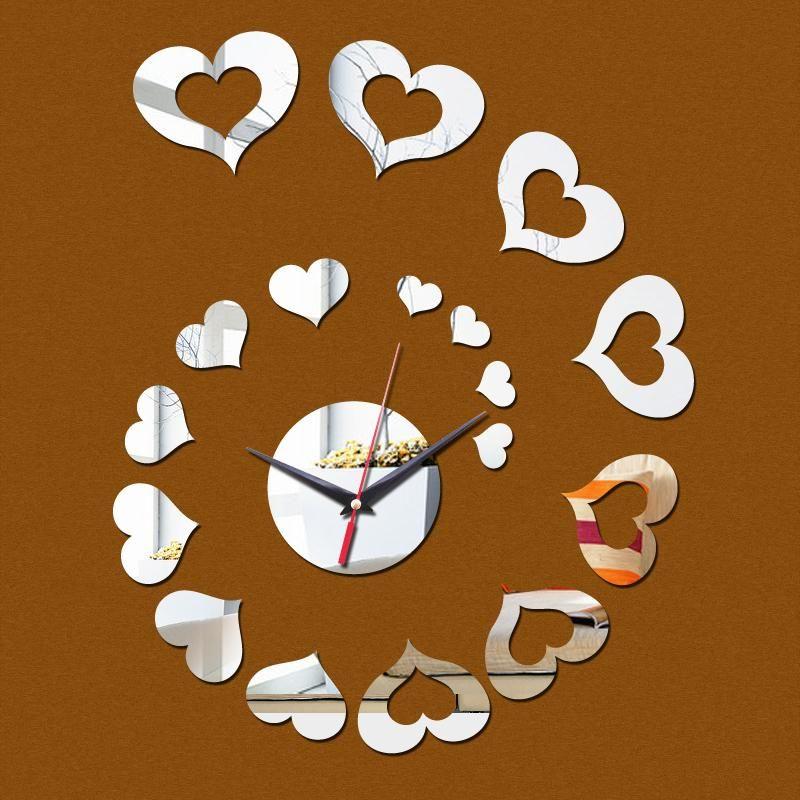 2017 Special Offer Best Ing Mirror Wall Clock 3 D Heart Stick Modern Home Decoration Diy Fashion Ty1952 Decorative Kitchen Clocks