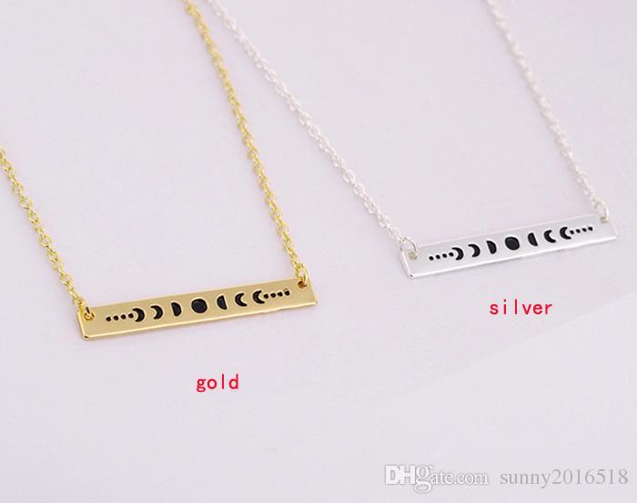 بسيطة الذهب الفضة بار قلادة قلادة القمر الشمس والقمر الكسوف قلادة خريطة للمجوهرات النساء خمر عيد الشكر هدايا