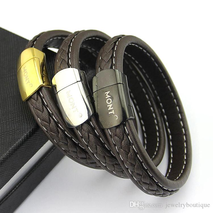 New arrival Paris style man bracelet geniuine leather stainless steel love punk bangle 1.2cm and 0.8cm width jewelry PS5398