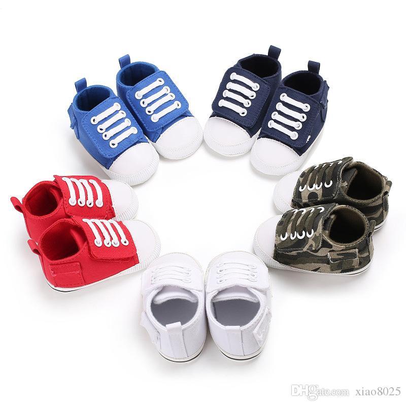 Neue Mode erste Wanderer Baby Schuhe Haken Schleife Kleinkind Baby Canvas Turnschuhe weichen Boden Baby ersten Wanderschuhe