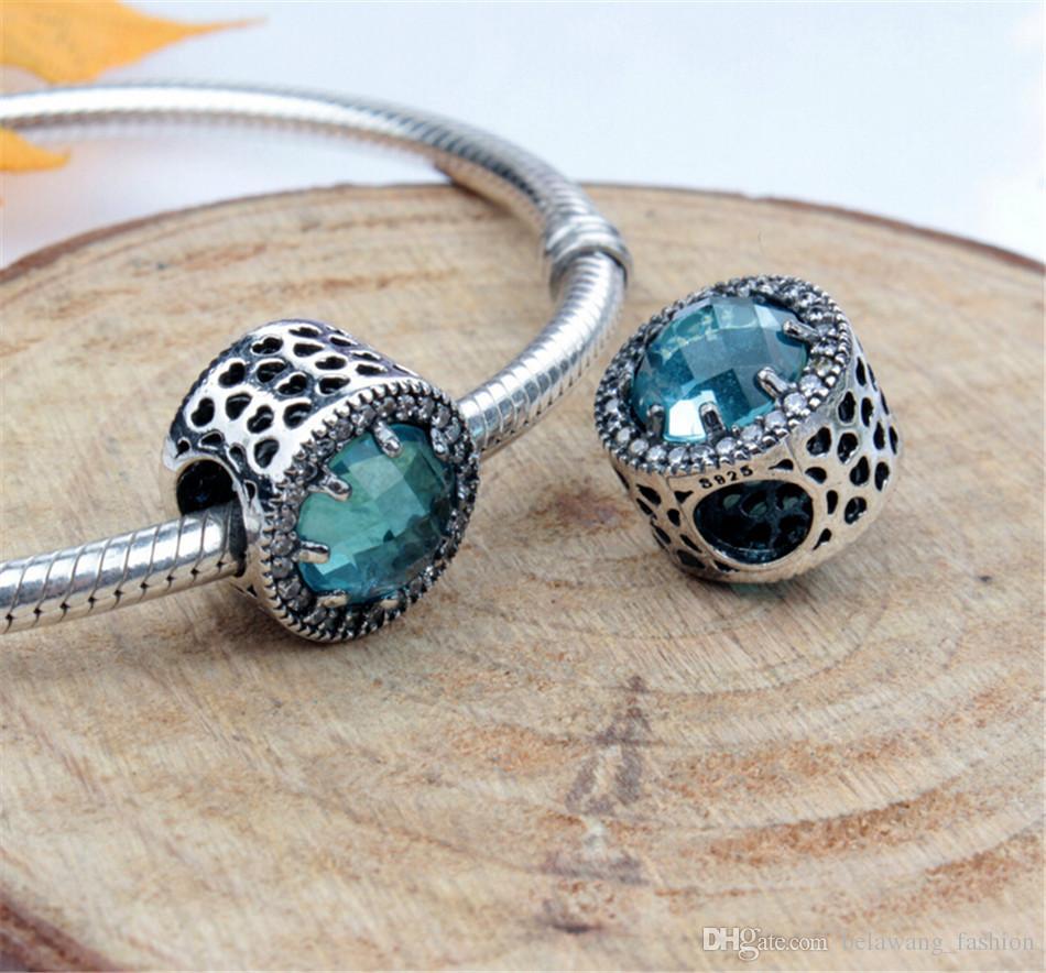 BELAWANG 6 Farben Heißer Verkauf 925 Sterling Silber Radiant Hearts Blau Perlen Charme Fit Ursprüngliche Pandora Charm BraceletBangle DIY Schmuck Machen