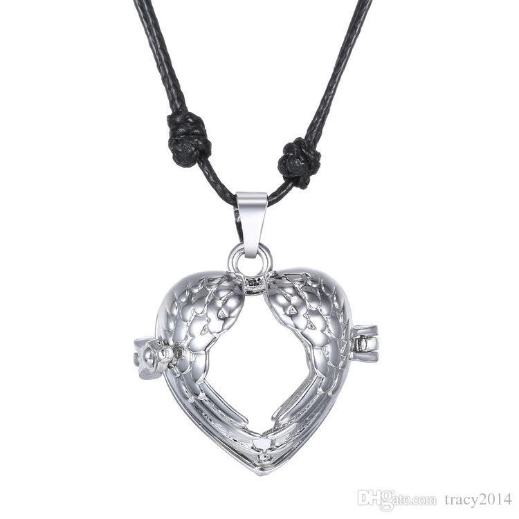 Embarazo Bola Bola Chime Necklacel hueco Colgante collar en forma de corazón con collar de cuerda collar chapado en oro blanco