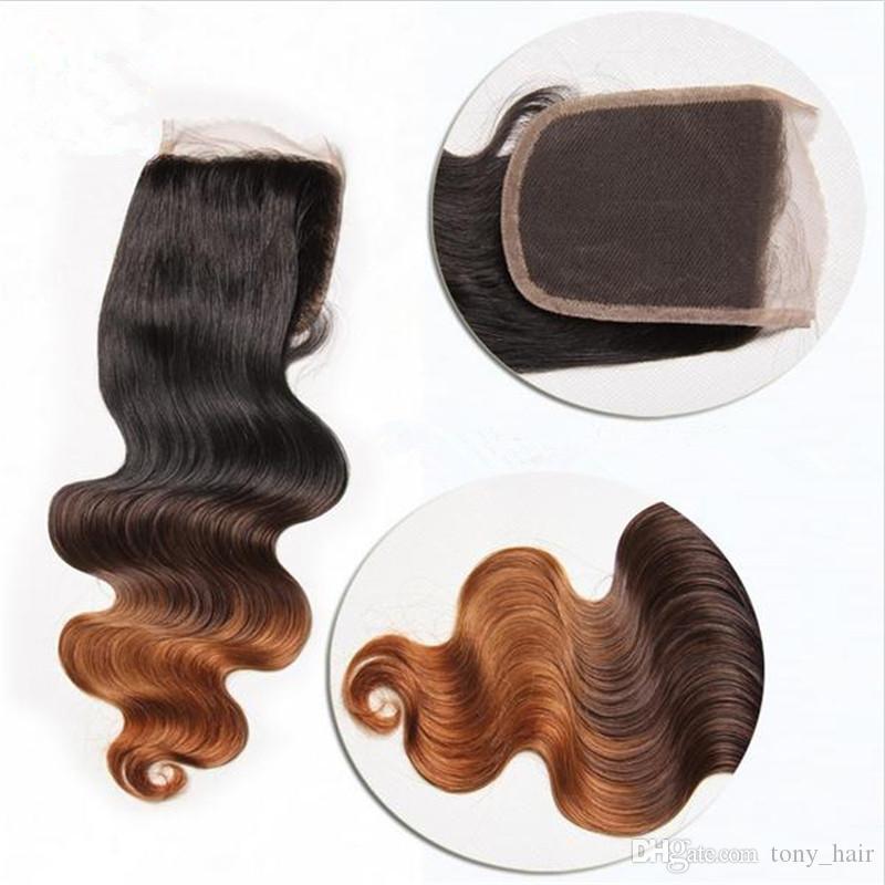 1B / 4/30 Cheveux Humains Péruviens Ombre Racines Foncées Avec Fermeture Dentelle Corps Vague Trois Tons Cheveux Péruviens Vierges 3Bundles Avec Fermeture