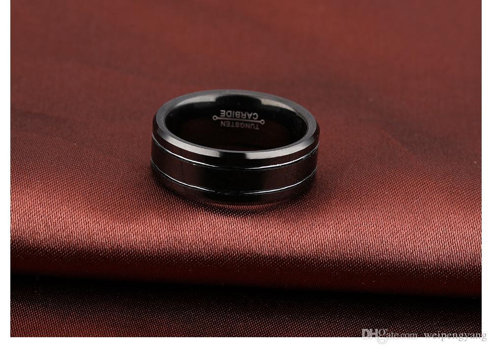 Classique Noir Anneaux De Tungstène Bijoux De Mode Pour Les Fiançailles De Mariage Taille 8-12 Bijoux En Acier Inoxydable GWJ245