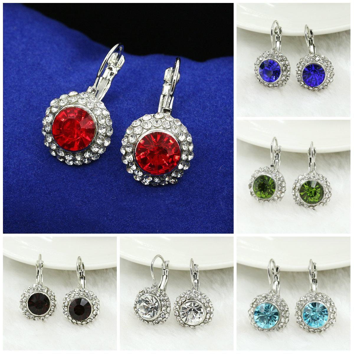eea38db9b3c6 Compre Pendientes Para Las Mujeres Chapado En Plata Swarovski Jewelry  Elegante Rose Redondo Moon River Pendientes Para Las Mujeres Pendientes De  Cristal ...