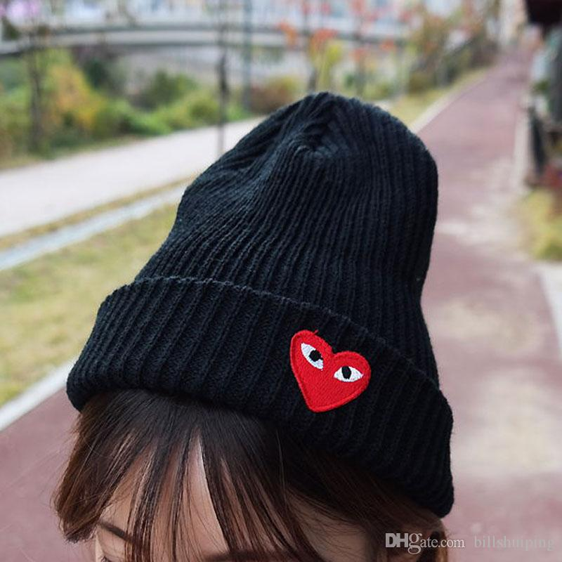 abe248b8911 Wholesale New Boy Girl Simple Hip Hop Skull Eye Heart Cap Autumn Winter  Hats Knitted Beanie Fashion Accessories Custom Beanies Crochet Beanie  Pattern From ...