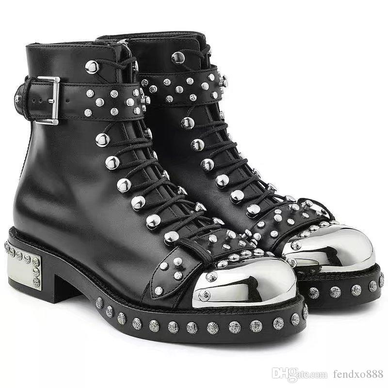 c0664a13617169 2017 New Fashion Metal Toe Cap Rivet Zip Motorcycle Boots Women Ankle Boots  TY26 Canada 2019 From Fendxo888, CAD $123.94 | DHgate Canada