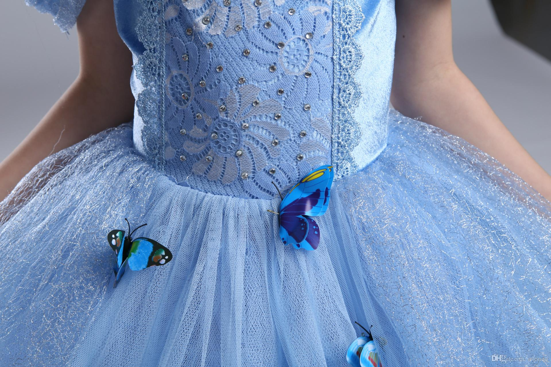 2017 Frozen baby girls Cinderella dress children christmas halloween party dress up clothes kids cosplay tutu skirts with butterfly B559