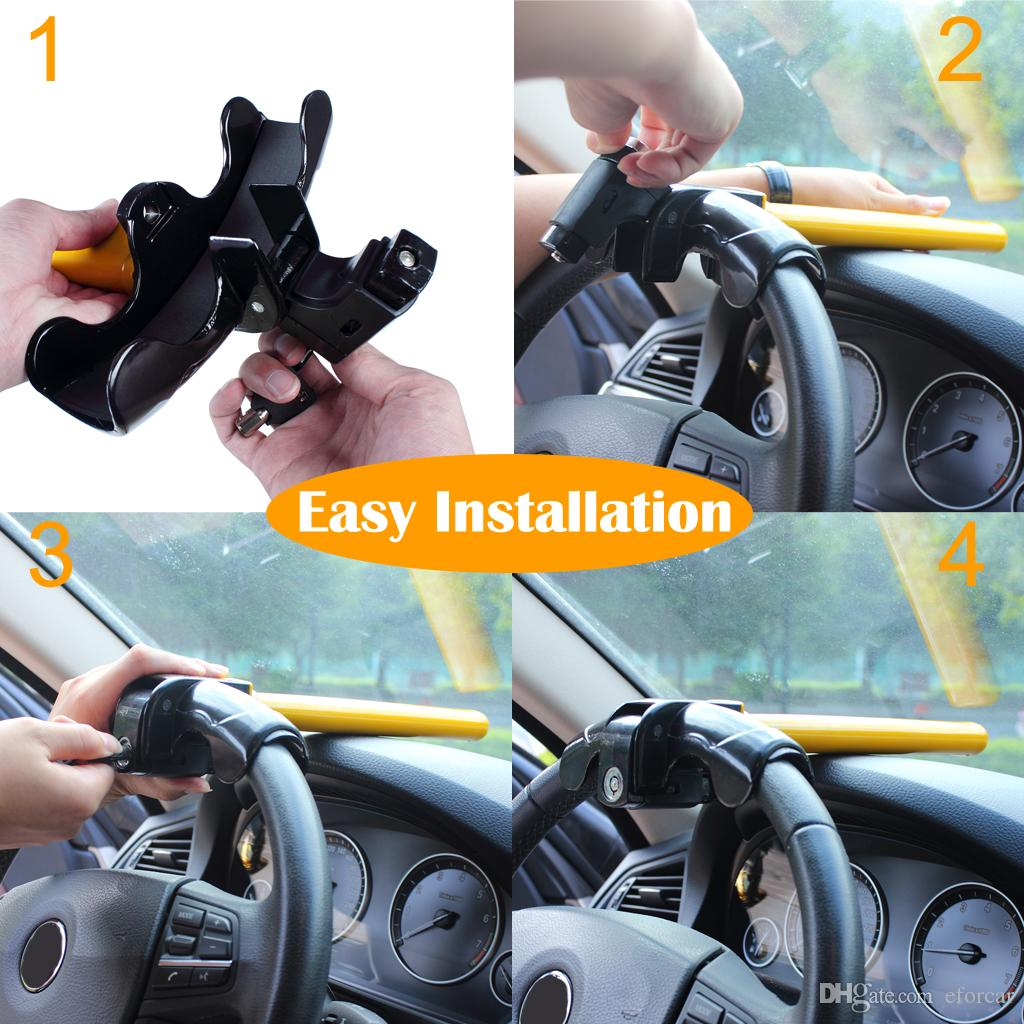 Car Steering Wheel Lock Universal Anti-Theft Car Van Security Rotary Type T Lock for Car's safe