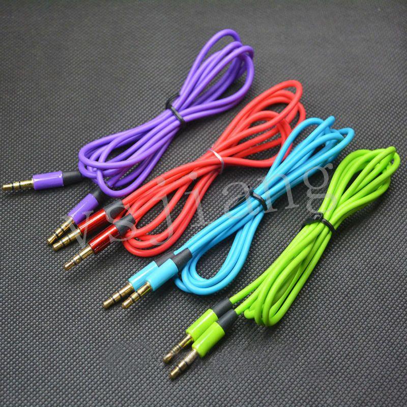 A3.5mm AUX Câbles Audio Mâle À Mâle Stéréo De Voiture Extension Audio Câble Pour MP3 Pour téléphone 10 Couleurs 300pec DHL Livraison Gratuite