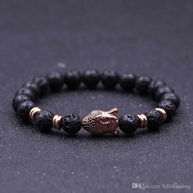 Großhandel New Handmade Diffusor Naturstein Armbänder Frauen Schmuck Charms Vulkanischen Rock Buddha Kopf Perlen für Männer