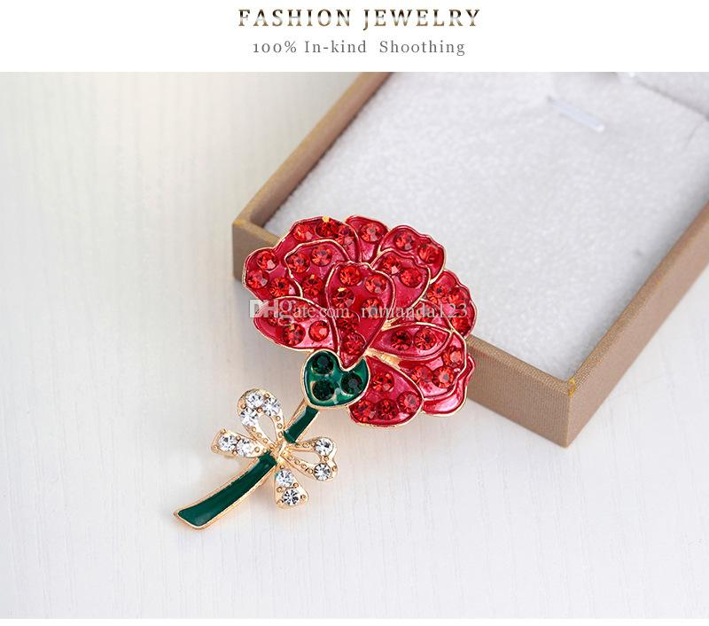 Red Flower Enamel Crystal Rhinestone Poppy Brooch Pins UK Remembrance Day New Arrival 2016 DHL