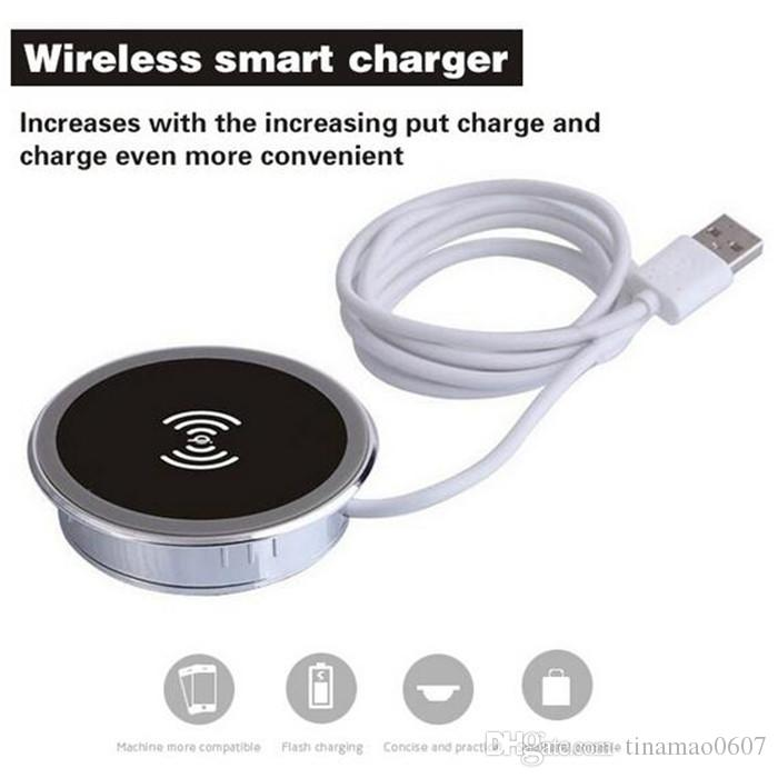 Universal wireless charging pads table desk desktop furniture inductive qi wireless chargers for iphone Samsung mobile phones