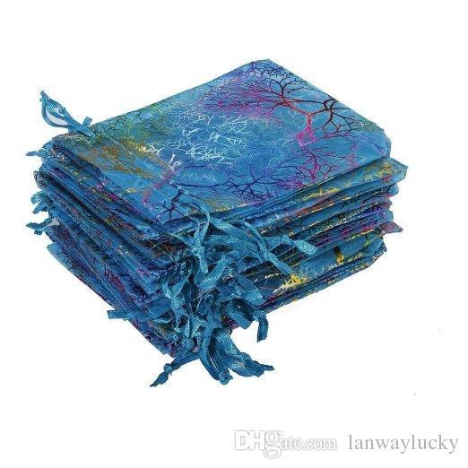 Coralline Organza Sacos de Presente Sacos de Cordão de Embalagem de Jóias de Festa de Casamento Favor Sacos de Design Saco de Doces Completo com Padrão de Douramento