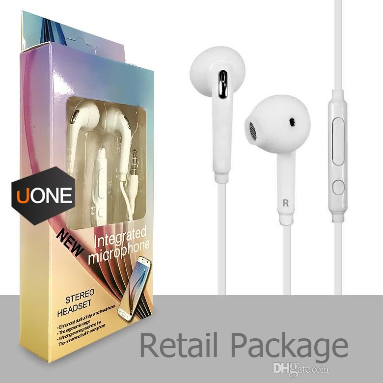 S6 S7 fone de ouvido Fones de ouvido J5 iPhone Fones de ouvido Earbuds 6 6s fone de ouvido para Jack In Ear com fio Com Mic Volume Controle 3,5 milímetros Branco Com Retailbox
