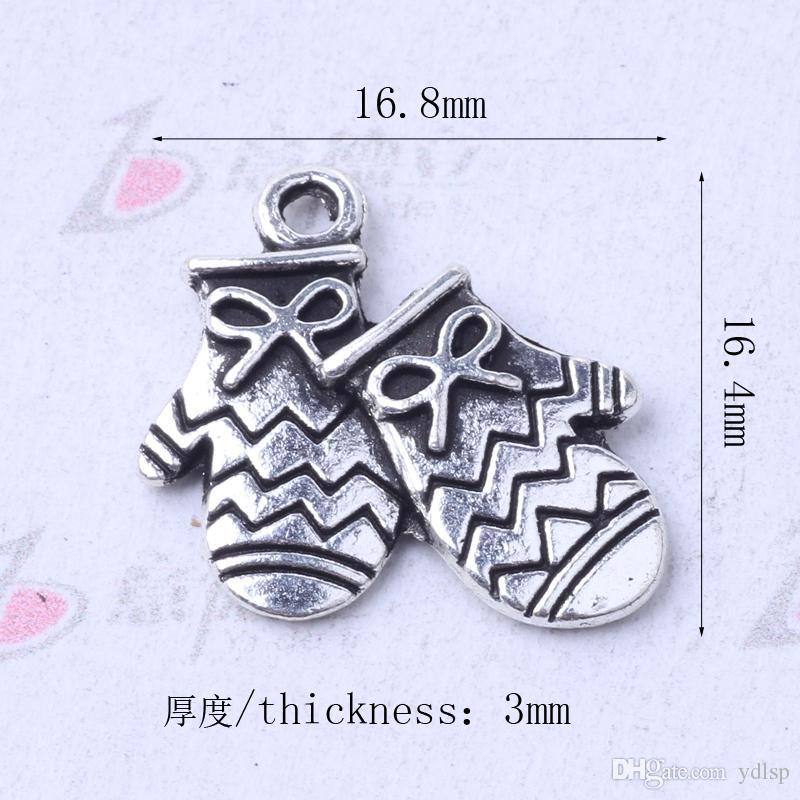 Luvas pingente Fit pulseiras ou colar retro encantos antigos de prata / bronze DIY Jóias / 3054z