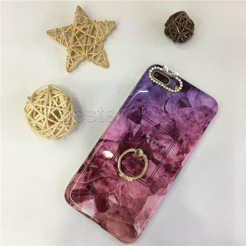 Diamond Marble Design Case with kickstand Soft TPU Phone Shell For iPhone X 8 7 6 6S Plus