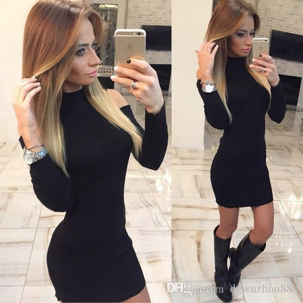 Long knit black dress