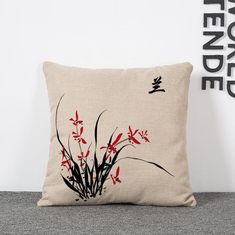 45cm plum blossoms orchid bamboo Cotton Linen Fabric Waist Pillow 18inch Fashion New Home Gift Coffeehouse Decoration Sofa Car Cushion