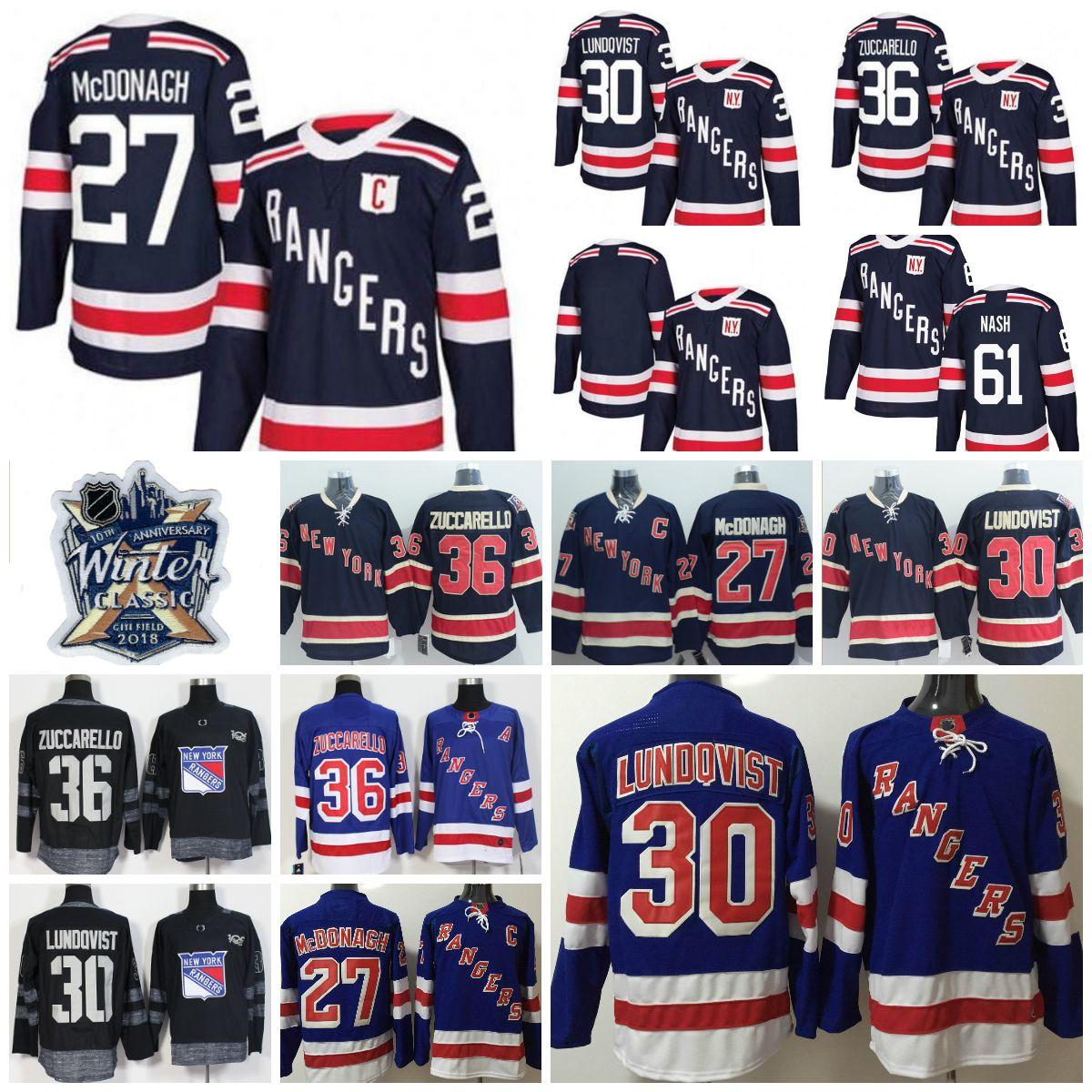 2019 2018 Winter Classic AD New York Rangers 30 Henrik Lundqvist Mats  Zuccarello Ryan McDonagh Kreider Rick Nash 100th Anniversary Hockey Jerseys  From ... da655cf01