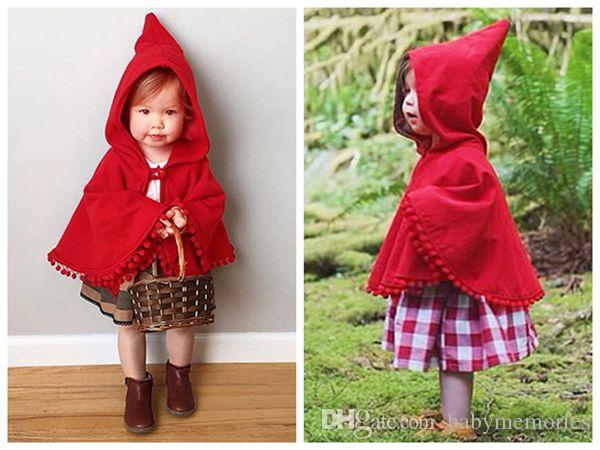 2016 Girls Winter Coats Kids Red Poncho Baby Christmas Shawls