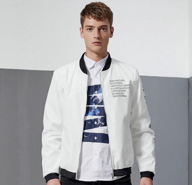 7abd2d405f7 Военная мода куртка мужская одежда новое прибытие осень пальто молния  письмо молодые люди носят случайные подростков куртки верхняя одежда M-4xl