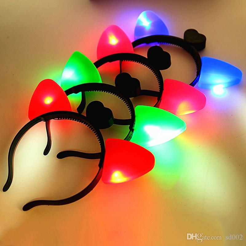 Katzenohren Kopfband Halloween Kunststoff LED leuchten Haarband für Mädchen und Jungen leuchtende Stirnband heißer Verkauf 1 39by B