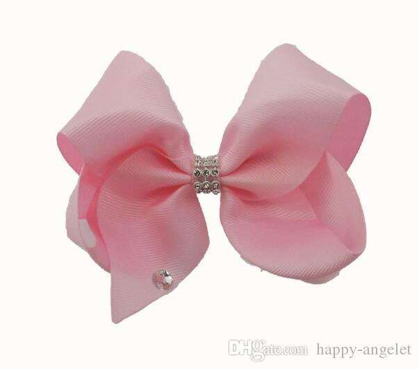 18CM solid colour ribbon ABC hair bows clips with big love heart diamonte Cheerleader Pageant headwear Accessories HD3491